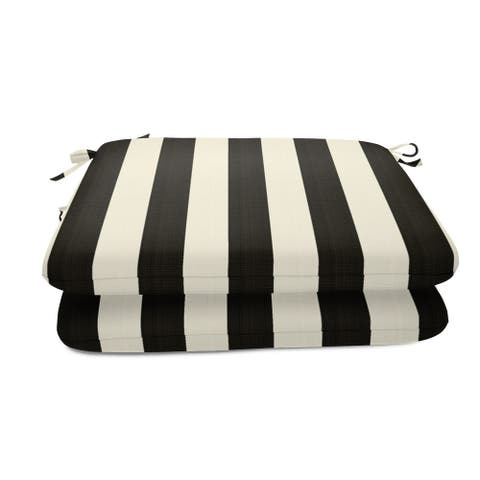 """Sunbrella 20x18-inch Striped Outdoor Patio Chair Seat Pads (Set of 2) - 20""""W x 18""""D x 2.5""""H"""