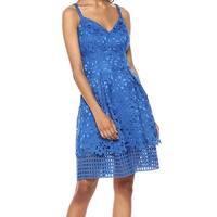Vince Camuto Blue Womens Size 8 Lace Illusion Hem A-Line Dress
