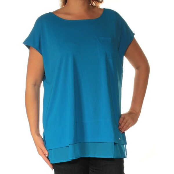 b939b9a39 Shop TOMMY HILFIGER Womens Blue Short Sleeve Jewel Neck Top Plus Size: 0X -  On Sale - Free Shipping On Orders Over $45 - Overstock.com - 22430628