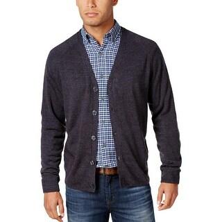 Weatherproof Mens Big & Tall Cardigan Sweater Ribbed Knit Heathered