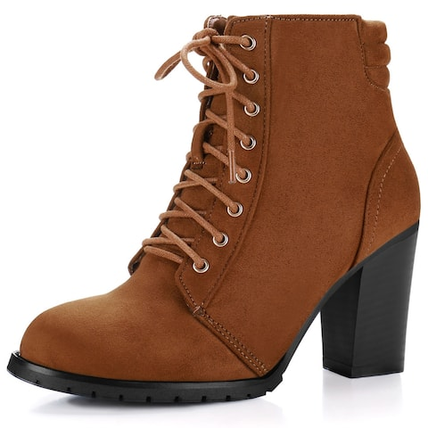 Women Round Toe Chunky High Heel Lace Up Booties
