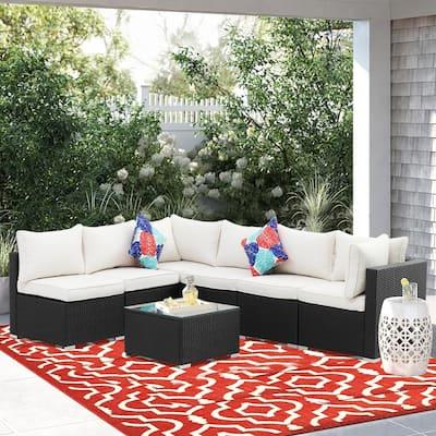 Zenova7 Pcs Rattan Sofa Sectional Set