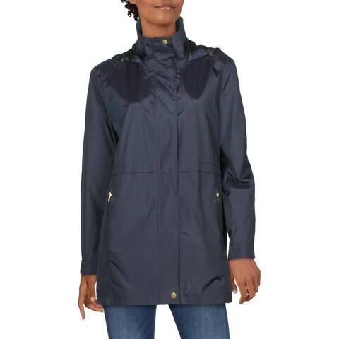 Cole Haan Womens Packable Rain Coat Midi Lightweight - Indigo - L