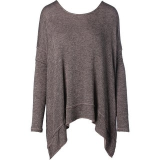 Free People Womens Fold-Over Marled Pullover Sweater