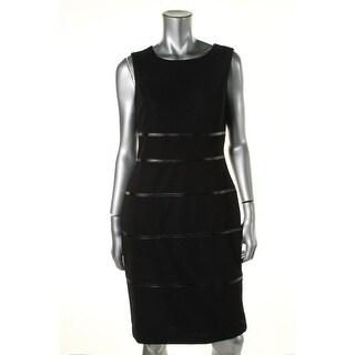 Kasper Womens Geneva Textured Faux Leather Trim Wear to Work Dress