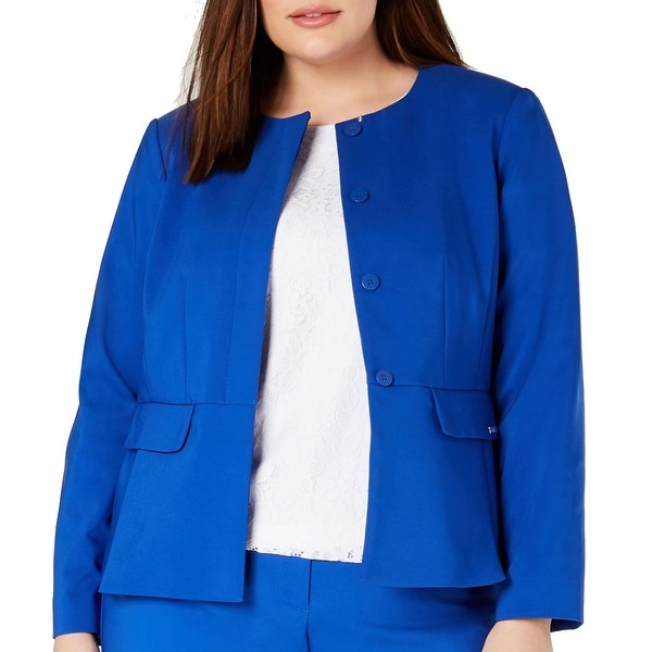 Calvin Klein Women's Jacket Blue Size 22W Plus Button Front Collarless. Opens flyout.