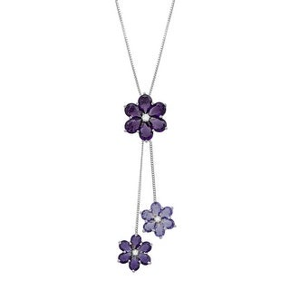 Purple Crystal & Cubic Zirconia Flower Drop Pendant in Sterling Silver