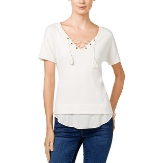 Sanctuary Womens Dawn Mashup Peasant Top Ribbed Knit Trim Grommet
