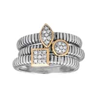 1/8 ct Diamond Stackable Rings in Sterling Silver and 14K Gold