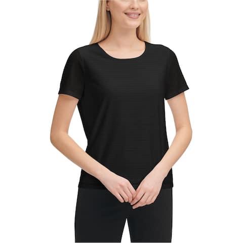 Calvin Klein Womens Damask-Stripe Basic T-Shirt
