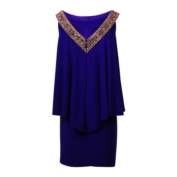 Betsy /& Adam Womens Chiffon Beaded Dress 6, Purple