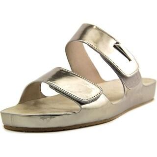 Calvin Klein Myra Women Open Toe Synthetic Silver Slides Sandal