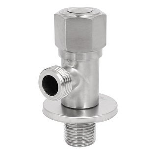 M20 304 Stainless Steel Brass Core 2-Way Hex Knob Angle Stop Valve Silver Tone