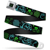 Monsters Eye Full Color Black Neon Green Sully & Mike Poses Grrrrr! Black Seatbelt Belt