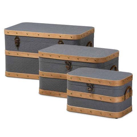 Jonathon Modern and Contemporary Transitional Grey Fabric Upholstered and Oak Brown Finished 3-Piece Storage Trunk Set
