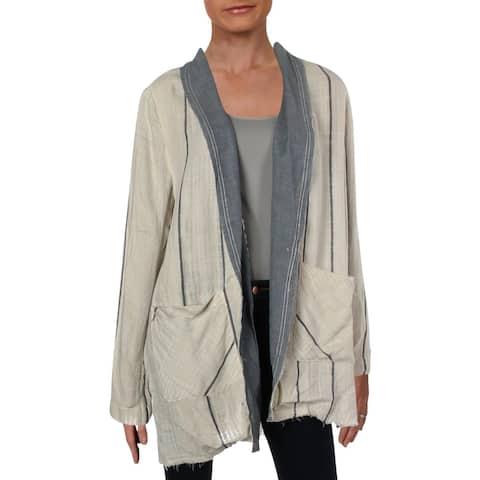Free People Womens Aria One-Button Blazer Striped Lightweight - M