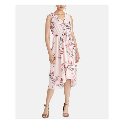 RACHEL ROY Womens Pink Floral Sleeveless Midi Sheath Dress Size M