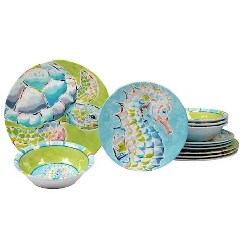 Certified International Deep Sea 12 Pieces Melamine Dinnerware Set