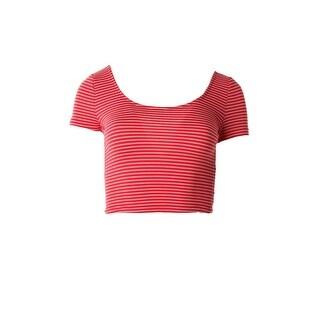 Material Girl Womens Juniors Pinstripe Short Sleeves Crop Top - L