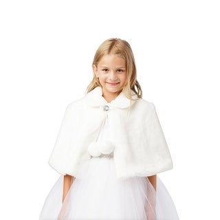 Baby Girls Off-White Plush Fur Glitter Single Button Closure Soft Cape