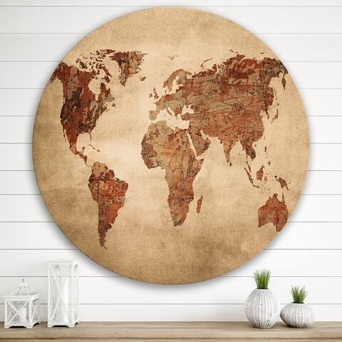 Designart 'Ancient Map of The World VII' Vintage Metal Circle Wall Art