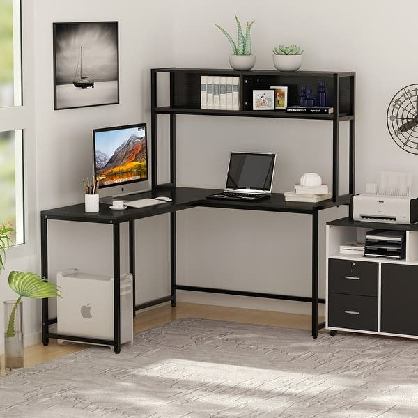 Home Office L-Shaped Corner Desk with Storage Bookshelf Spacious Work Space 55/'