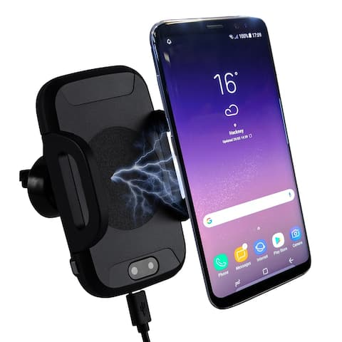 Automatic Expanding Wireless Qi Car Charger & Phone Dock by Indigi® - IR Activated Sensor - Over Charge/Short Circuit Protection