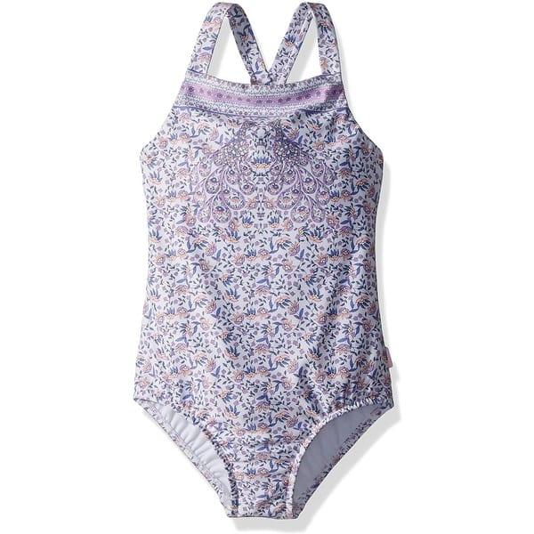 Seafolly Girls Little 3//4 Sleeve Surf Tank One Piece Swimsuit