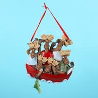 12 Moose Family of 6 in Fishing Boat Christmas Ornaments for Personalization - multi