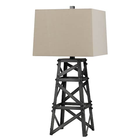 Metal Body Table Lamp with Tower Design and Fabric Shade, Gray and Beige