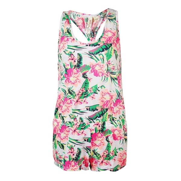 Miken Women's Tropical Floral Racerback Romper Cover Up - Coral