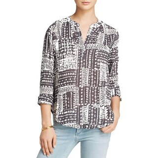 VELVET BY GRAHAM & SPENCER Womens Blouse Printed Long Sleeves
