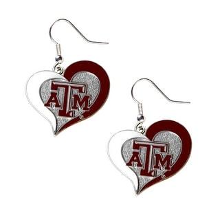 Texas A&M Aggies Swirl Heart Dangle Logo Earring Set NCAA Charm Gift