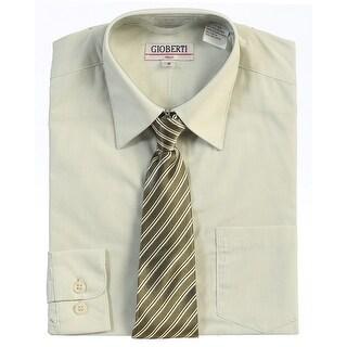 Sage Button Up Dress Shirt Silver Striped Tie Set Boys 5-18