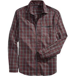 Sean John Mens Button-Down Shirt Checkered Long Sleeve