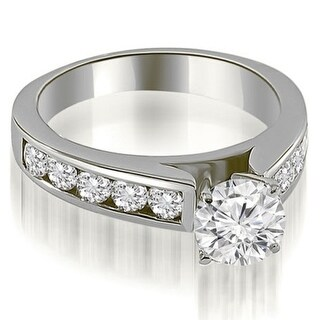 1.50 CT.TW Cathedral Channel Round Cut Diamond Engagement Ring in 14KT Gold - White H-I