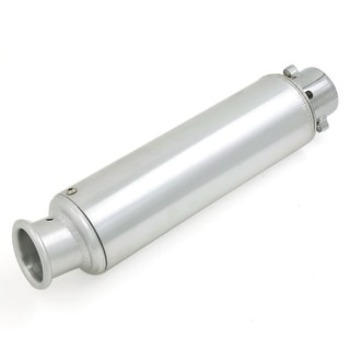 360mm Long 50mm Inlet Round Tip Motorcycle Exhaust Muffler Tail Pipe Silver Tone