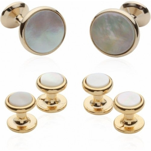 Gold-Plated Tuxedo Formal Set with Mother of Pearl