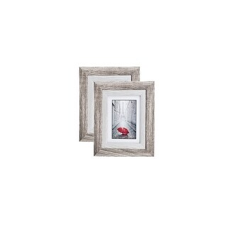 Ash-Grey Brown Wood Picture Frame with Real Photo Glass