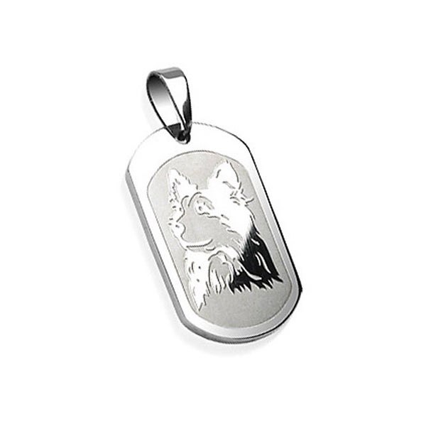 Stainless Steel Dog Engraved Pendant (20 mm Width)