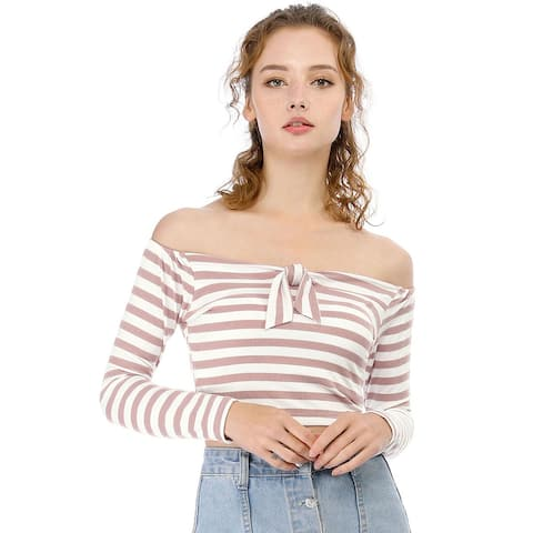 Unique Bargains Women's Striped Long Sleeve Slim Fit Off Shoulder Crop Tops - Pink