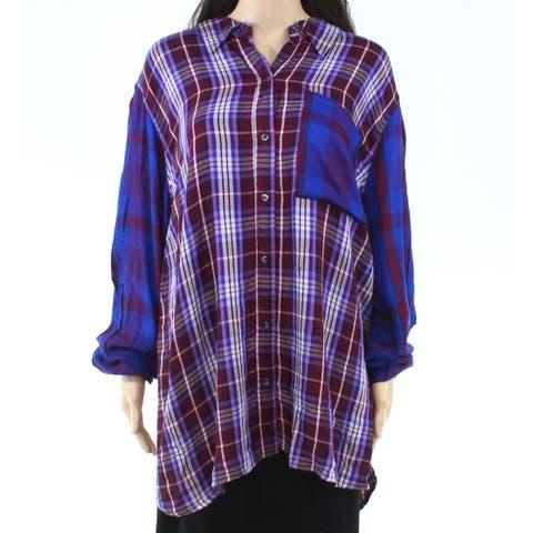Joe Fresh Womens Blouse Blue Size 2X Plus Button Down Plaid-Print