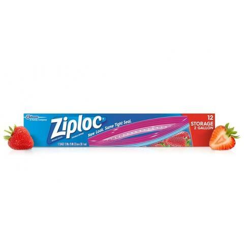 Ziploc 01143 Jumbo Double Zipper Storage Bags, 2-Gallon, 12-Count