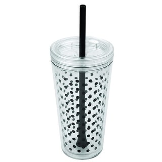 Copco Minimus Tumbler & Removable Straw - Dots Design Double Wall Insulation BPA Free 24 Oz - Clear Black - Clear/Black