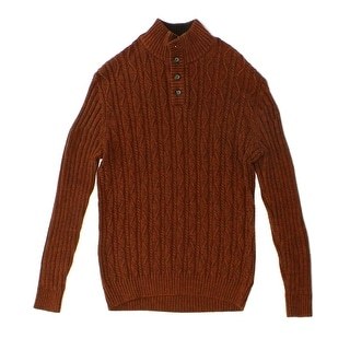 Tasso Elba NEW Red Copper Mens Medium M Mock-Neck Cable-Knit Sweater