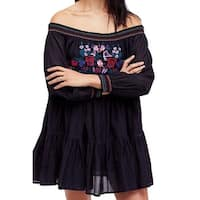 Free People Black Women's Size Large L Floral Embroidered Dress