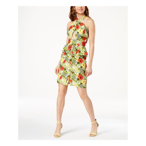 XOXO Womens Green Cut Out Criss Cross Floral Sleeveless Halter Above The Knee Peplum Cocktail Dress Juniors Size: S