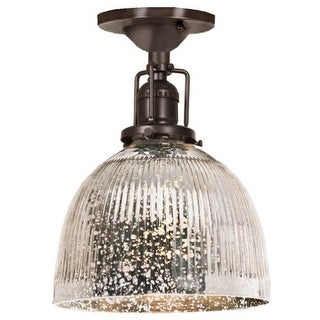 """JVI Designs 1202-08-S5-SR Union Square 1 Light Semi-Flush 9.75"""" Tall Ceiling Fixture with Antique Mercury Ribbed Mouth-Blown"""