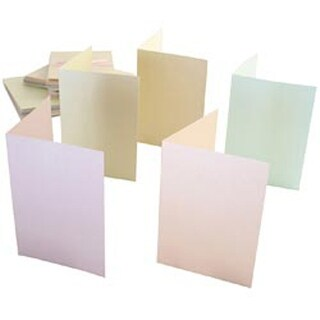 Pastel Ivory; Ecru; Pink Peach Grn - Anita's Pearlescent Cards/Envelopes A6 50Pk