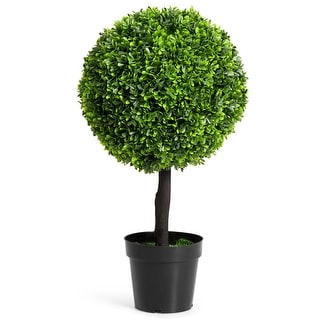 """Costway 24"""" Artificial Boxwood Topiary Ball Tree In/Outdoor Home Decorative Planter"""